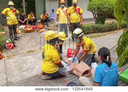 YALA, THAILAND - April 21 : The refresher training to assist in emergency rescue situations the midwife, in Yala southern Thailand. on April 21, 2016