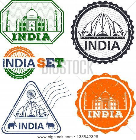 India stamps set. Simple drawing. India symbols. Vector illustration