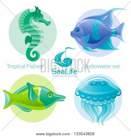 Icon set with tropical fishes - butterfly fish, clown fish and squirell fish