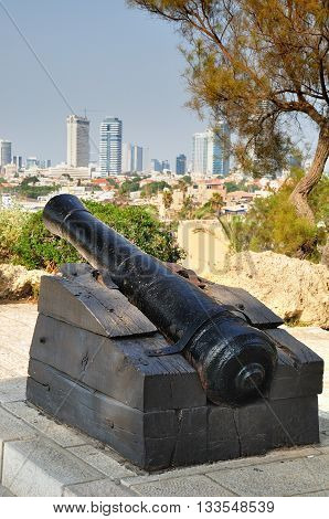 Napoleon`s gunnery on the boundary of old Jaffa and Tel Aviv. Israel.
