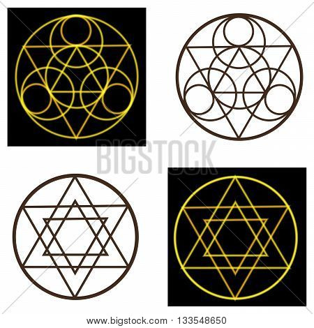 Set occult symbols and pentacles on black and white background.