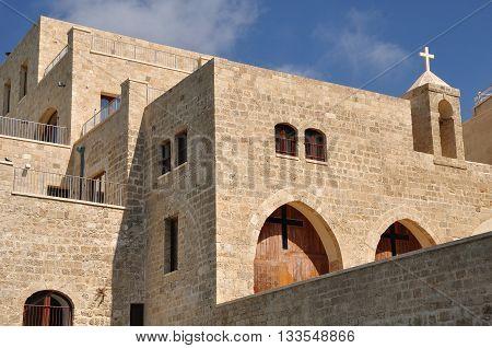 Christian church in old Jaffa embankment. Israel.