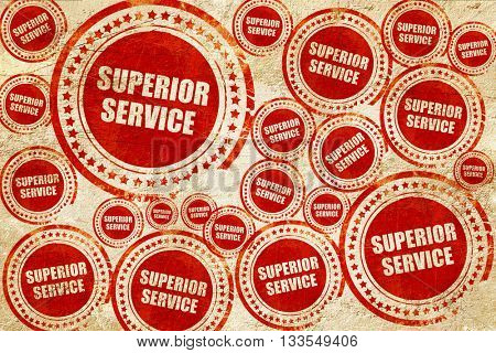 superior service, red stamp on a grunge paper texture