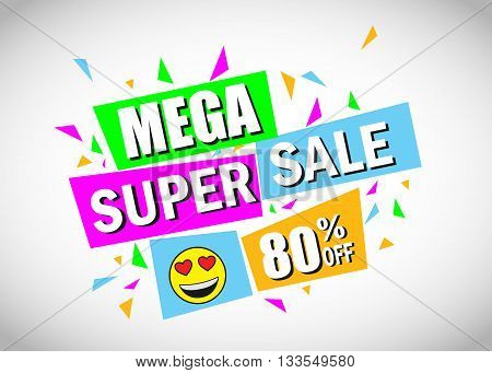 Mega Super Sale Banner. Sale background. Mega Sale. Super sale. Sale poster. Sale vector. Geometric design. Vector illustration.