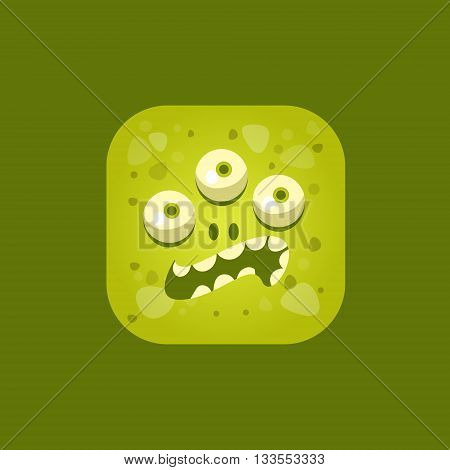 Annoyed Green Monster Emoji Icon. Creative Vector Emoticon Alien Monster Face. Cartoon Monster Character Square Button Drawing.