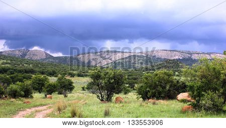 Storm clouds over Vredefort dome world heritage site