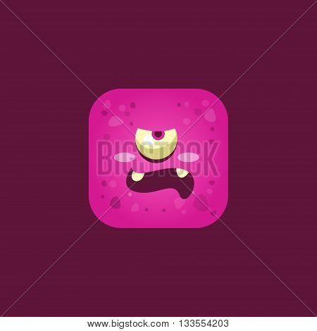 Unpleased Pink Monster Emoji Icon. Creative Vector Emoticon Alien Monster Face. Cartoon Monster Character Square Button Drawing.