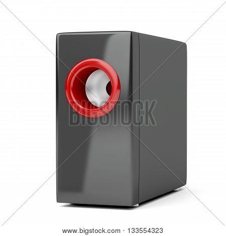Subwoofer speaker on white background, 3D illustration