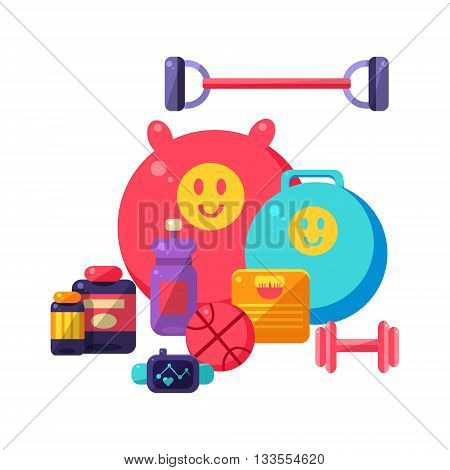 Sports Inventory Items Collection. Flat Colorful Vector Illustration With Fitness Inventory. Training Equipment Vector Illustration.