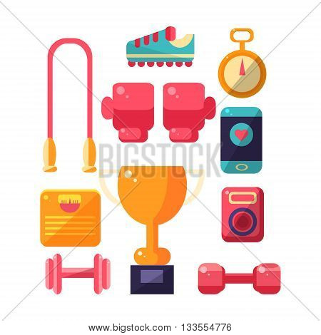 Sports Inventory Items Set. Flat Colorful Vector Illustration With Fitness Inventory. Training Equipment Vector Set OF Isolated Objects.