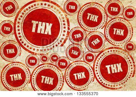 thx internet slang, red stamp on a grunge paper texture