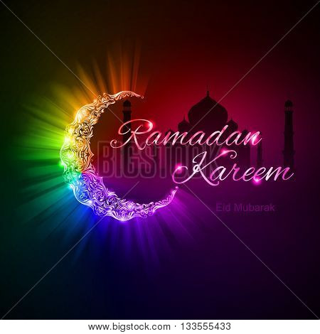 Glowing ornate crescent with bright flare and radiance in spectral shades. Greeting card of holy Muslim month Ramadan