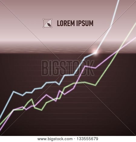 Equity market charts turn po sitive concept image warm tint