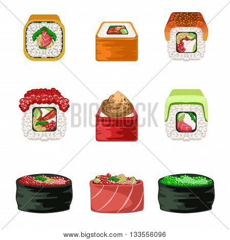 Maki And Sushi Set Of Realistic Design Vector Stickers Isolated On White Background