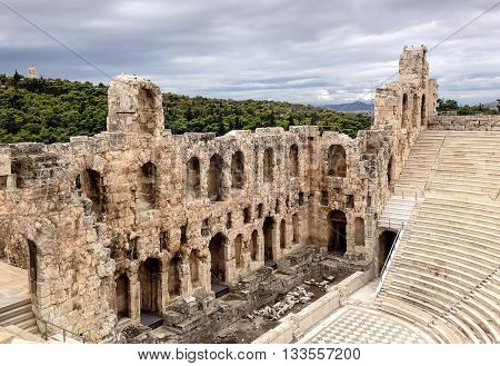 Ruins of ancient Greek theater. Acropolis in Athens.