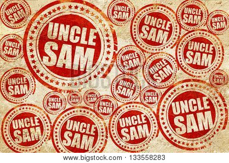 uncle sam, red stamp on a grunge paper texture