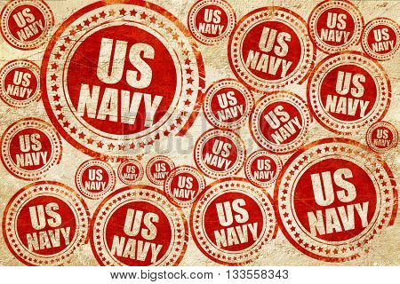us navy, red stamp on a grunge paper texture