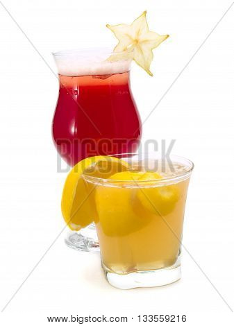 Starfruit and Sidecar cocktails isolated on white background