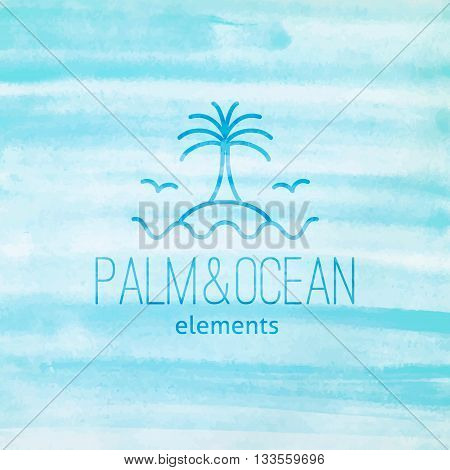 summer logo for travel agency or hotel. Palm, seagulls, island and waves on watercolor background