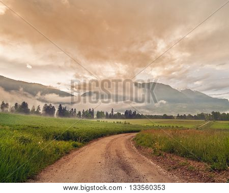Landscape of a rural road with farm and crop in a ranch