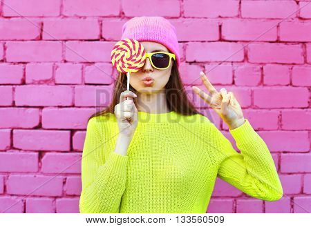 Fashion Portrait Pretty Cool Girl With Lollipop Having Fun Over Colorful Pink Background