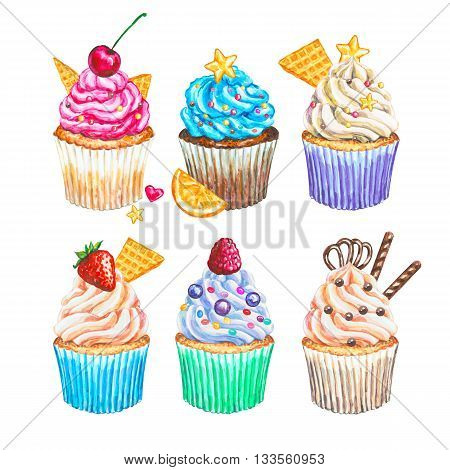 Watercolor cupcakes collection. Watercolor cupcakes set different type of cupcakes. Hand drawn watercolor cupcake with decoration cream and berries. Sweet tasty food illustration