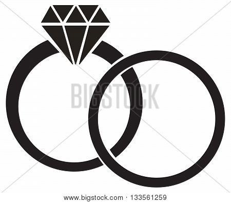 wedding ring diamond symbol vector wedding married silhouette
