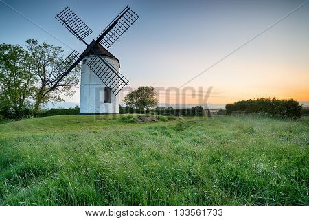 Dawn at Ashton Windmill in the Somerset countryside