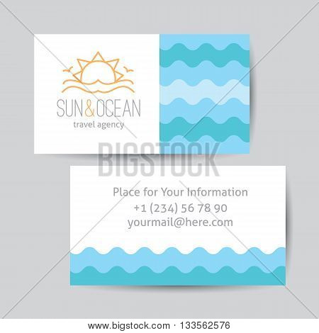 Business card template with logo for travel agency. Sun, waves and seagulls, single line design