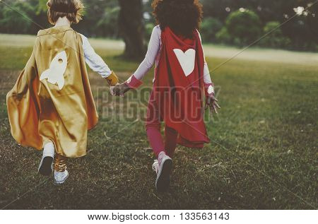 Bestfriends Superhero Little Girls Walking Concept