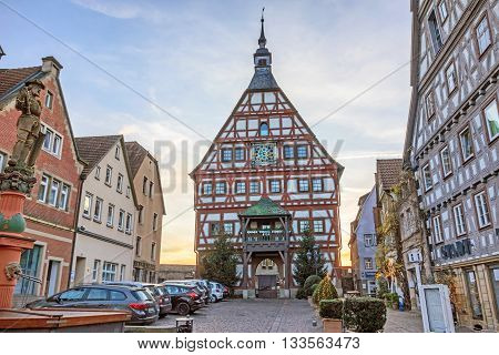 Besigheim Germany - December 27 2016: Townhall of Besigheim in the historic city district.