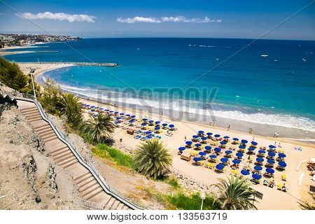 Panoramic view of Maspalomas beach in Gran Canaria. Spain.