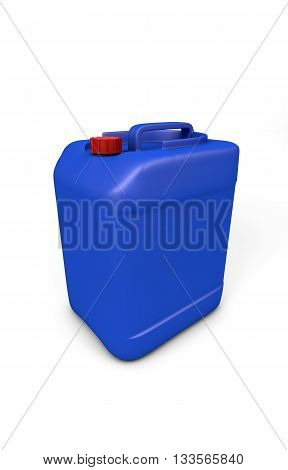 Blue plastic jerry can isolated on white. clipping path, 3d rendering