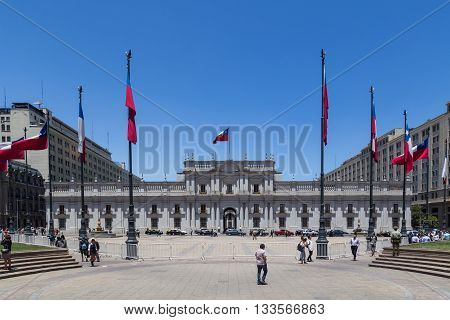 Santiago de Chile, Chile - November 26, 2015: The seat of the president Palacio de la Moneda