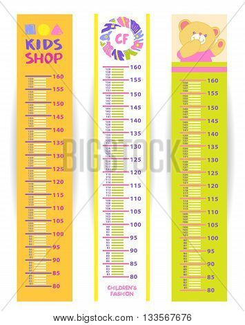 Kids measure in centimeter from 80 to 160 cm. Set of children height meter wall vector illustration with logo for kids shop. Height gage.