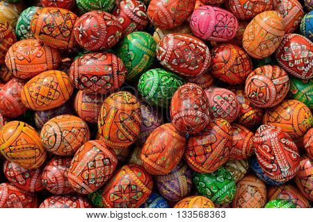 VILNIUS LITHUANIA - MARCH 8: Hand painted colorful Easter eggs in annual traditional crafts fair - Kaziuko fair on Mar 8 2015 in Vilnius Lithuania