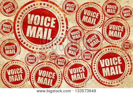 voice mail, red stamp on a grunge paper texture