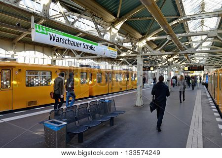 BERLIN OCTOBER 27: Warschauer Straße U-bahn subway station on October 27 2014 in Berlin Germany. The U-Bahn serves 170 stations spread across ten lines with a total track length of 151.7 km.