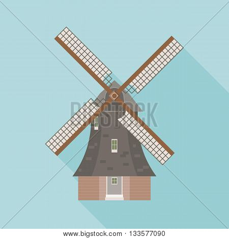Dutch windmill vector, windmill icon, flat design with long shadow