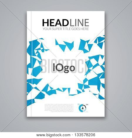 Cover report colorful blue triangle geometric prospectus design background, cover flyer magazine, brochure book cover template layout, vector illustration.