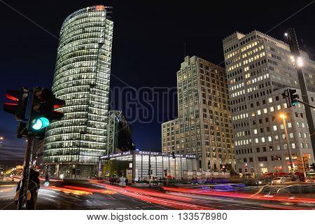 BERLIN, OCTOBER 27: The Potsdamer Platz at night on October 27, 2014 in Berlin, Germany. The Potsdamer Platz is the new modern city center of Berlin.