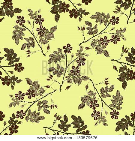 Vector vintage seamless pattern with eglantine. Vector beige briar pattern