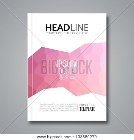 Cover report colorful pink polygonal voronoi geometric prospectus design background, cover flyer magazine, brochure book cover template layout, vector illustration.