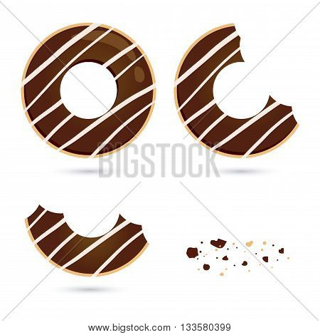 Vector stock of chocolate flavored doughnut with different eating stages
