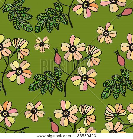 Vector green vintage seamless pattern with pale eglantine roses. Floral texture, bouquet.