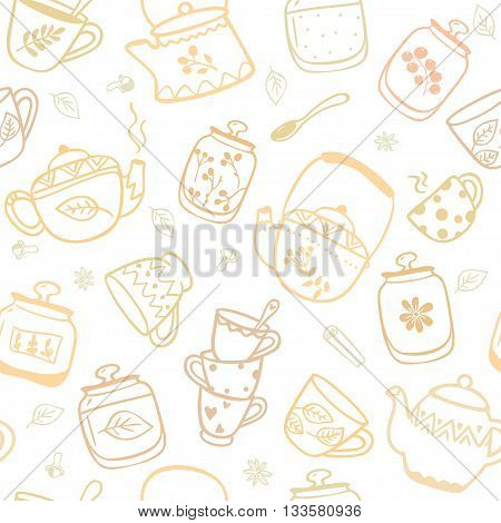 Beautiful seamless pattern with doodle of kettles and mugs. Stylish vector illustration
