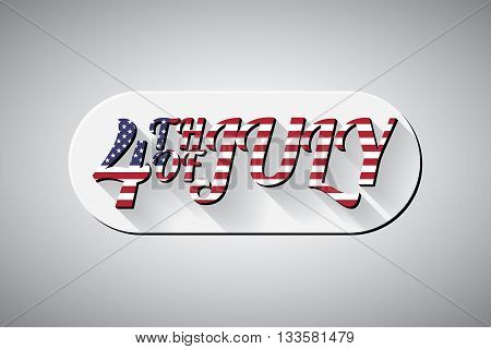 Happy independence day 4-th july with colours of american flag. 3d version. Vector