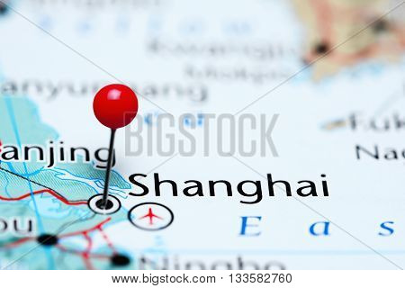 Shanghai pinned on a map of China