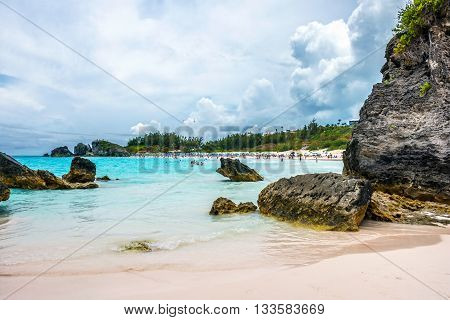 HORSESHOE BAY BERMUDA - MAY 26 - Rock formations and aqua color water are typical scenes at Horseshoe Bay on May 26 2016 in Bermuda.