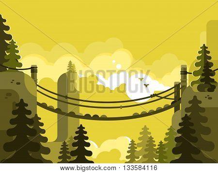 Suspension bridge design flat. Nature park, adventure and travel, vector illustration